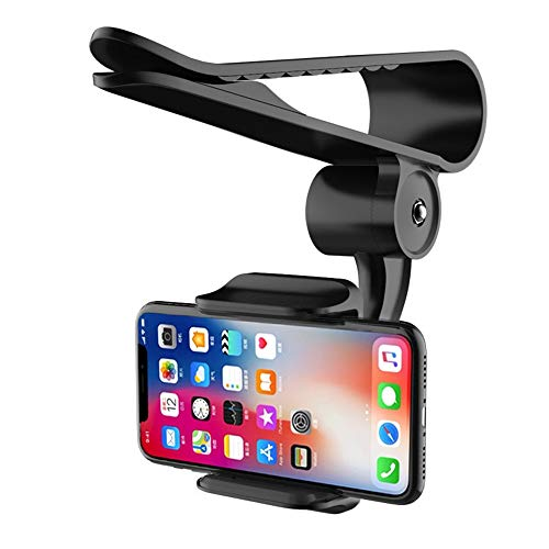 Sun Visor Car Cell Phone Holder, Universal 360 Rotating Car Mount Support Clip Bracket Compatible for iPhone Xs/Xs Max/Xr/X/8/7/6 Samsung Note 9/8/5 Galaxy S9/S8/S7/S6 Moto Z3 Smartphones GPS (Black)