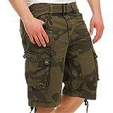 Geographical Norway PANORAMIQUE MEN - Bermudas Short Algodón Fit - Pantalones Cortos Deportivos Para Hombres - Bermudas Hombre - Shorts Cortos Cinturón - Bermuda Ajuste Normal Cómodo CAMO CAQUI XXL