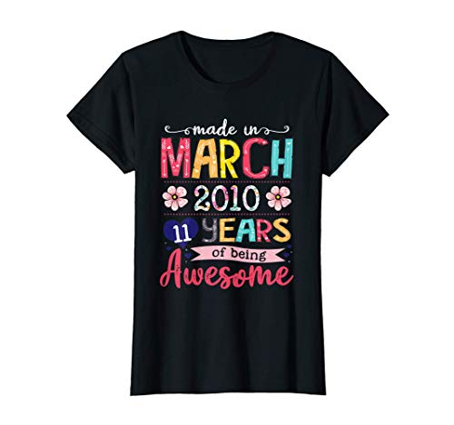 March Girls 2010 Birthday Gift 11 Years Old Made in 2010 T-Shirt