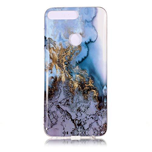 COZY HUT Huawei Y7 2018 Marmor Hülle, Huawei Y7 2018 Marble Handyhülle : Silikon Case Weich TPU Huelle mit IMD Technologie für Huawei Y7 2018 - Marmor-Blauer Marmor