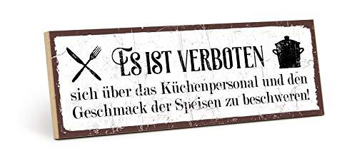 TypeStoff Holzschild mit Spruch – KÜCHENPERSONAL UND Geschmack – im Vintage-Erscheinungsbild mit Zitat als Geschenk & Dekoration zum Thema Küche & Kochen (9,5 x 28,2 cm) - HS-00387