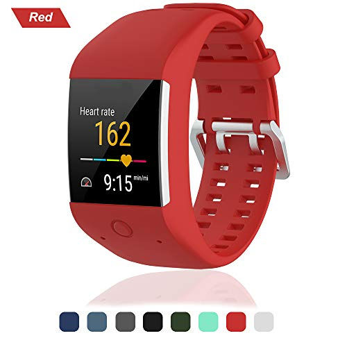 Bemodst Uhrenarmband für Polar M600 Ersatzarmbände, Ersatz Silikon Uhr Armband Uhrenarmbänder Handschlaufe für Polar M600 Uhr Gurtr, Rot