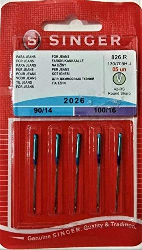Singer, 130 705 H-J, Aghi per macchine da cucire, confezione da 5, mod. 2026, spessore 90 14 e 100 16, per jeans