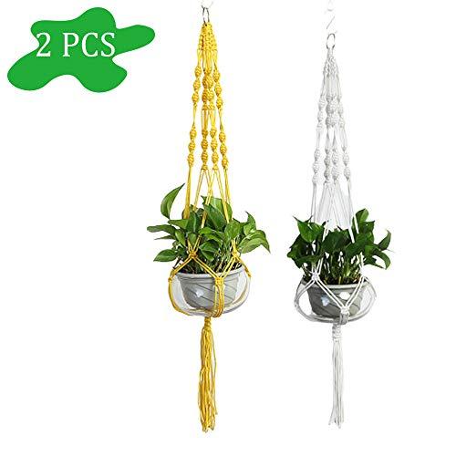 2 stuks Plantenhanger macramé - Luxe gevlochten touw katoen - plantenpot ophangen, Macrame touw Plantenhanger – Macrame koord plant– 100% Katoen