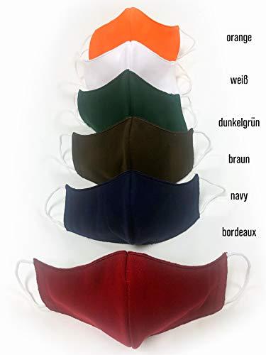 Krings Fashion Gesichts-Maske Mund-Nasen-Maske Alltagsmaske Behelfsmaske für Kinder, Damen und Herren, Bordeaux, Jersey 100% Baumwolle, Größe M (Damen, Herren)