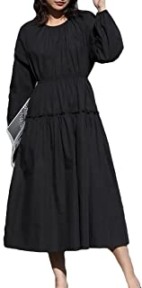 Women's Round Neck Long Sleeve Dress Casual Loose Dress Sweet Retro Long Dress غير رسمي (Color : Black, Size : S)