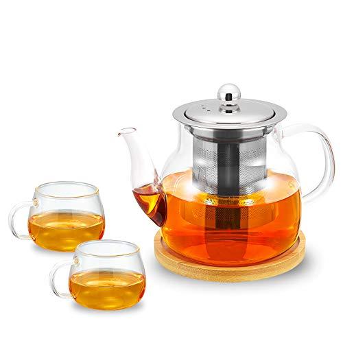 Glass Teapot Set with 2 Matching Cups, Stainless Steel Removable Infuser for Loose Leaf Tea, Tea Maker Bonus Tea Kettle & Infuser Coaster, Microwave & Stovetop Safe, 700ml/23oz Tea Pot, 100ml Cups