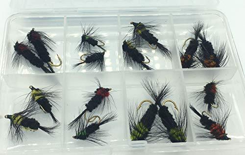 BestCity Montana Selección de Pesca con Mosca, Paquete de 16 Moscas en tamaños 8-12 Moscas para Trucha