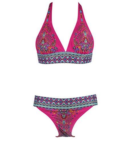 Toaho Damen Sexy Beach Floral Strand Badeanzüge Push Up Bikini sets Bademode Swimwear Swimsuit Rot L