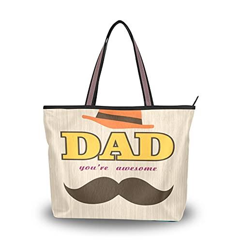 NaiiaN Handtaschen Happy Father's Day Hut Bart Light Light Strap Tote Bag für Mutter Frauen Mädchen Damen Student Geldbörse Shopping Umhängetaschen
