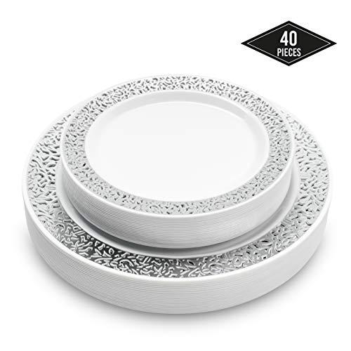 40 Elegante Hartplastik Einwegteller mit Silber Spitzenrand, 2 Größen (20 Speiseteller & 20 Dessertteller) - Stabil & Mehrweg Partyteller Kunststoff| Partygeschirr für Hochzeiten Partys Catering.