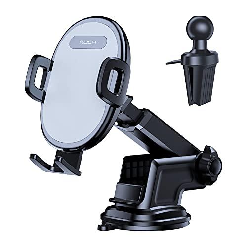 Porta Cellulare da Auto, 2 in 1 Supporto Smartphone per Auto per Cruscotto e Parabrezza e Bocchetta Dell'aria, Compatibile con Tutti 4-7 pollici Smartphone e GPS 2021 Versione Aggiornata