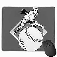 野球黒イラストランニングベルト マウスパッド ノンスリップ 防水 高級感 習慣 パターン印刷 ゲーミング ホビー 事務 おしゃれ 学習