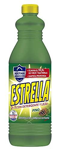 Estrella 2 en 1 Lejía con Detergente Pino, Desinfección y limpieza sin huella para el hogar - 1,35...