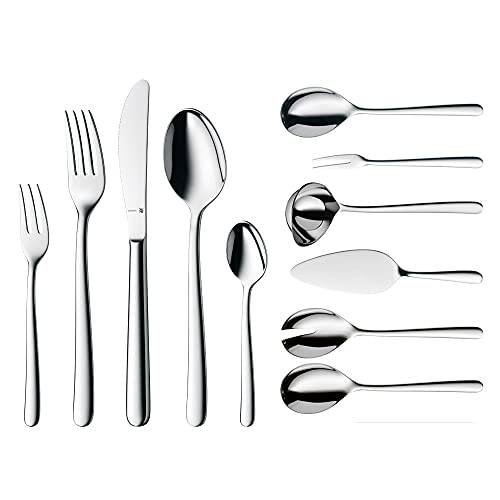 WMF Kult Ménagère 12 personnes, 66 pièces, 60 pièces avec couverts de service, couteau monobloc, Cromargan protect, poli, résistant aux rayures, passe au lave-vaisselle