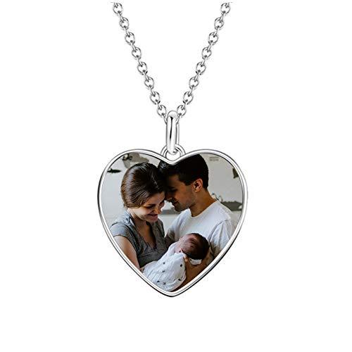 Coudf Personalisierte Foto & Name Einfache Anhänger Halskette Liebe Erinnerung Fotorahmen Halskette Geburtstag Muttertag Jubiläum Halskette für Liebhaber Silber Herz2-24(60cm)
