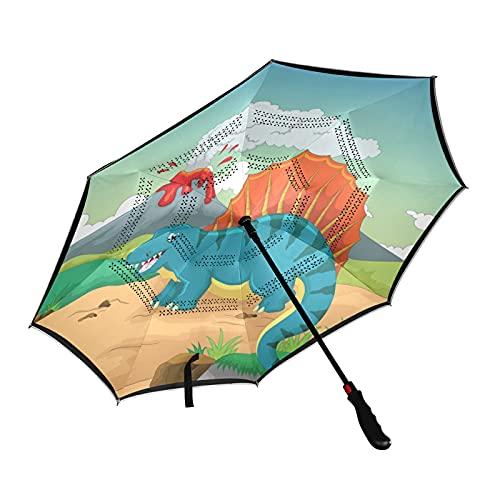 Isaoa Parapluie de golf pliable avec motif dinosaure et volcan Ouverture automatique Coupe-vent Imperméable Grand parapluie pliable avec housse de transport