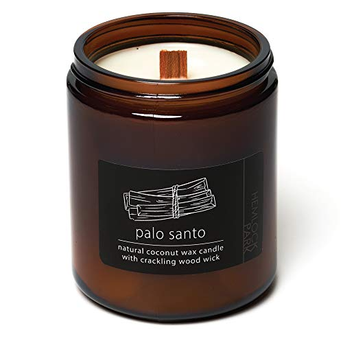 Palo Santo Crackling Wood Wick Candle Made with Organic Coconut Wax (Standard 8 oz   225 g)