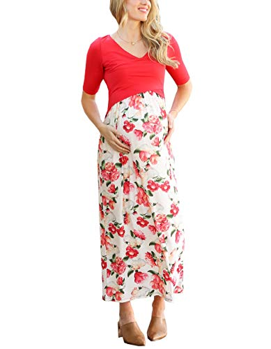 Womens' Elbow Length Sleeve V Neck Breastfeeding Maternity Maxi Dress Red M