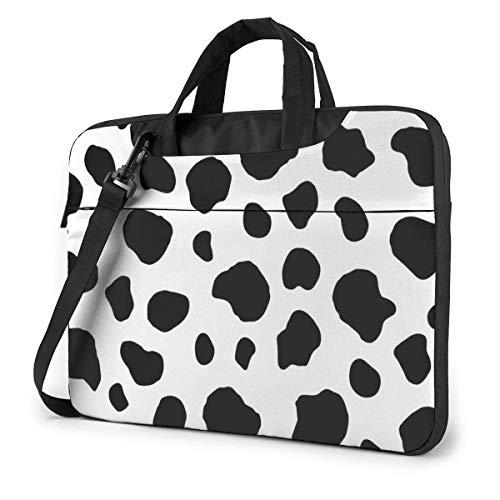 XCNGG Maletín para Ordenador portátil de Piel de Vaca de Leche Blanca y Negra, maletín a Prueba de Golpes para Hombres, Mujeres, Tableta, Bolso de Mano para Oficina de Viaje de 13 Pulgadas