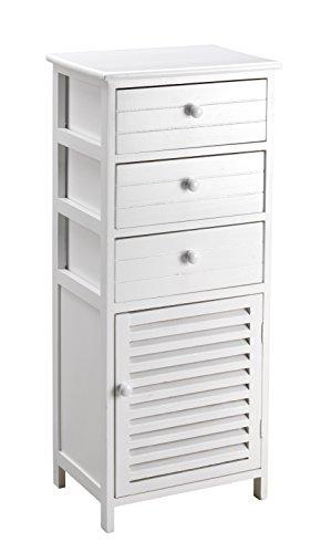 King Home c656897Kommode 3Schubladen mit Tür, weiß, 40x 29x 93H, Bianco, 40X29X93H