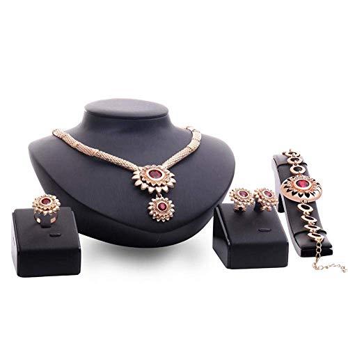 Schmuck-Set für Damen, Strass, Blumen-Anhänger, Dekoration, Halskette, Ohrringe, Ring, Armband