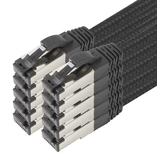 1,5 m – Black Cotton Cat 6a Cable de red Negro – 10 unidades de cable de red tejido de algodón Cat 6 a Cable Rj 45 LAN Ethernet Cable de pares trenzados 500 Mhz 10 Gb s – 10 x 1,5 metros