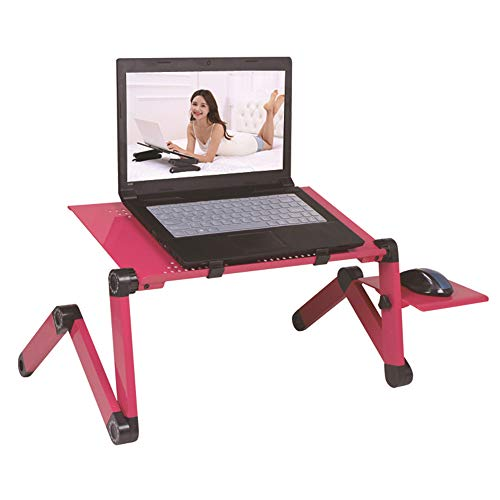 Soporte para Laptop, Base Ajustable Y Plegable, Soporte De Ratón para Notebook PC Laptop Tener Un Radiador,Rojo