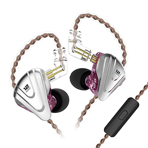 in-Ear Monitors, KZ ZSX 1DD+5BA Hybrid HiFi Stereo Noise Isolating Sport IEM Earphones/Earbuds/Headphones with Detachable Cable for iPhone, iPad, Android, Computer (with MIC, Purple)