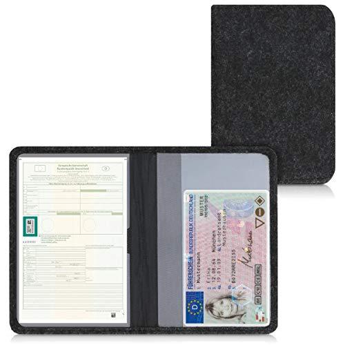 kwmobile Custodia in Feltro per Libretto Circolazione Auto - Portalibretto con Scomparti Tessere Patente - Foderina Porta-Documenti - Feltro