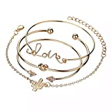 Shining Diva Fashion Set of 4 Crystal Love Charm Bangle Gold Plated Bracelet