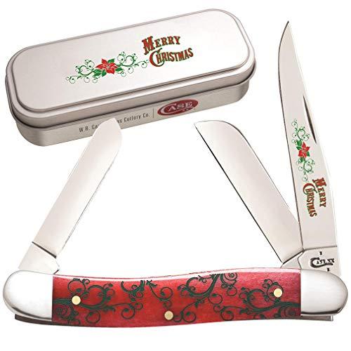 CASE XX Merry Christmas Red Bone Medium Stockman Stainless Pocket Knife Knives