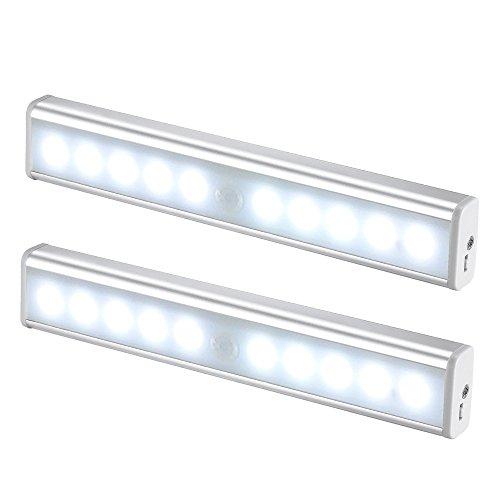 JESWELL LED del Sensore di Movimento Ricaricabile Luce con Interruttore, USB Luce Notturna Lampada da Armadio Scale Corridoio Guardaroba Cucina, 10 Luminosa LED (Confezione da 2)