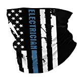 Electrician with American Flag Seamless Face Cover Mouth Mask Scarf Bandanas Neck Gaiter - Dust & UV Sun-Protection for Festivals and Outdoors