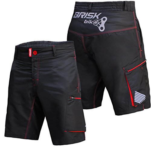 Brisk Bike MTB Padded Shorts Model Padded MTB Shorts Red Black (M)