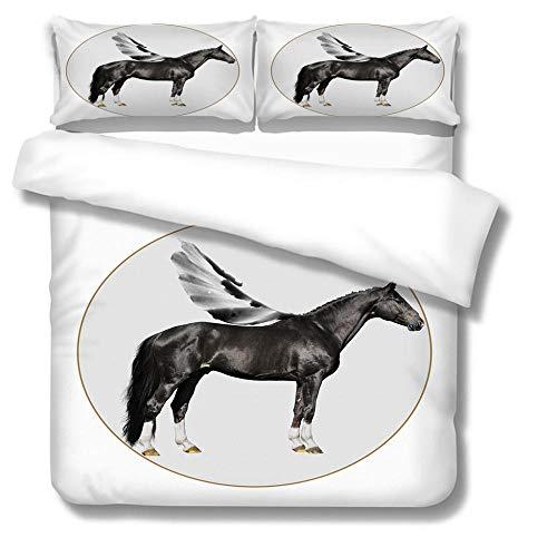 Juego de funda de edredón para cama con impresión 3D, diseño de caballo con alas de microfibra para niños adolescentes super king 220 x 260 cm, incluye 2 fundas de almohada de 50 x 90 cm