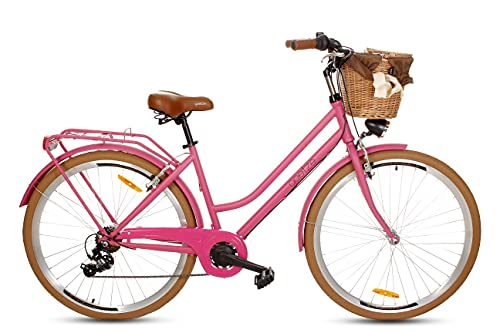 Goetze Touring Damenfahrrad Retro Vintage Holland Citybike, 28 Zoll Alu Räder, 7 Gang Shimano Tourney Schaltung, Tiefeinstieger, Korb mit Polsterung Gratis!