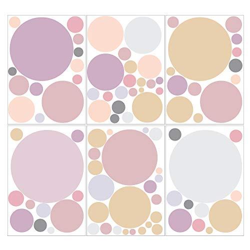 Wandtattoo Kinderzimmer 90 Kreise in zarten Pastellfarben Dekokreise Kinderzimmer Wandsticker Aufkleber Set/Pastell-rosa