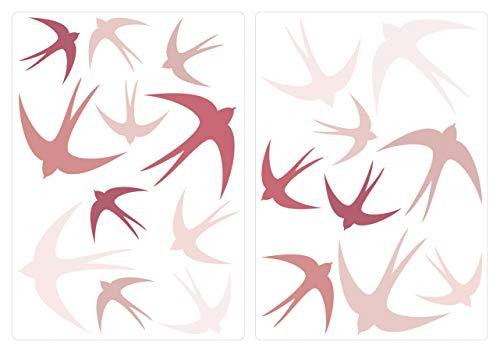 dekodino® Pegatina de pared golondrinas rosa oscuro cuarto del bebé ornato set