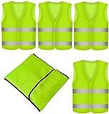 Chaleco Reflectante Amarillo - 4 Unidades - Con Bolsillo - Lavable - Chaleco de Seguridad para Emergencias, Deportes