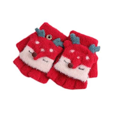 Warme handschoenen van dik wolmateriaal voor de winter van kinderen, voor het trekken van de middelvingerhandschoenen, rood