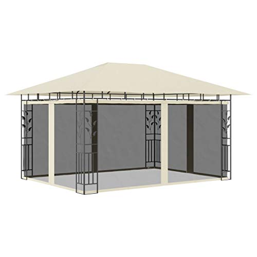 YCDTMY Gazebo with Mosquito Net Garden Canopy, Tent Shetler for Outdoor Metal Frame Easy Assembly 13.1'x9.8'x9' Cream 180 g/m2