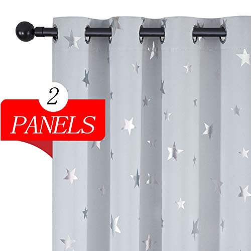 Estelar Textiler Thermal Insulated Star Blackout Curtains Small Window Room Darkening Curtains for Boys Bedroom 52 by 54 Inch Greyish White 1 Pair