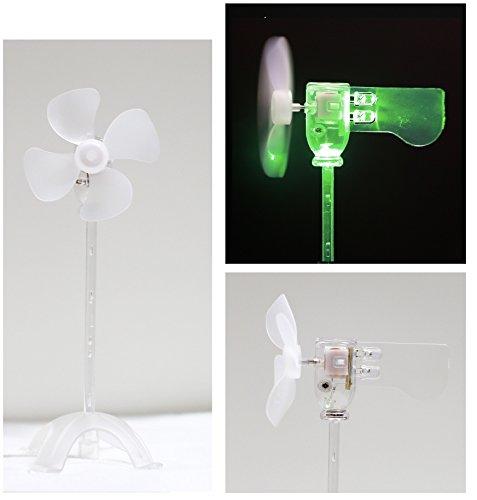 LED風車,風力発電実験モデル・小型発電機を内蔵する,電池なし・省エネ科学実験に適用する,自由研究と想像力を育成する・奇妙な趣もしおもちゃや装身具 (A .純緑)