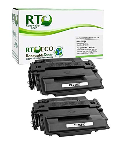 Renewable Toner Compatible Toner Cartridge High Yield Replacement for HP 55X CE255X Laserjet M521 M525 P3010 P3015 P3016 (Black, 2-Pack)