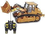 Liiokiy Coche de juguete del tractor del cargador Rc Excavadora grande 2.4G Simulación Control remoto Bulldozer excavadora Pala modelo de construcción Vehículo de juguetes electrónicos con luz y sonid