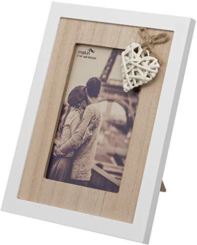 Maturi Bilderrahmen in Herzform, aus Holz, 10 x 15 cm, braun, 6 x 4