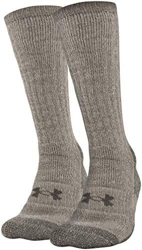 Under Armour Hitch ColdGear Stiefelsocken für Erwachsene, 2 Paar, Damen Unisex-Erwachsene Herren, Socken, Coldgear Boot Socks, 2-pairs, Highland Buff/Maverick Brown, Medium