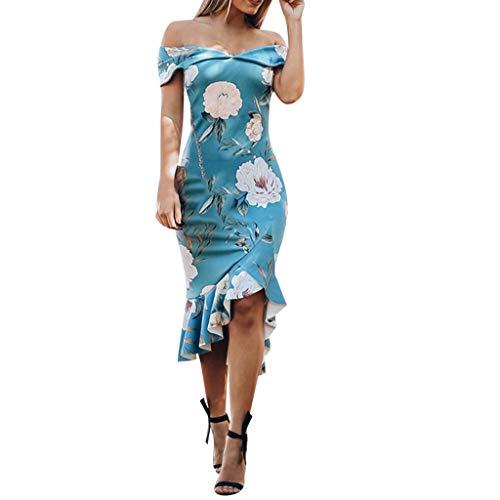 Sannysis Damen Abendkleid Elgant Schulterfrei Blumenkleid Knielang Kleid Festliche Kleider Bodycon Party Brautkleid Cocktail Ballkleid Sommerkleid (M, Blau)