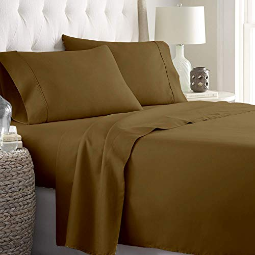 Rajlinen 400 Thread Count Luxurious 100% Egyptian Cotton Set of 4 Sheet Set (60X75) (1 Fitted Sheet,1 Flat Sheet, 2 Pillows Covers) for Camper/RV Solid Taupe
